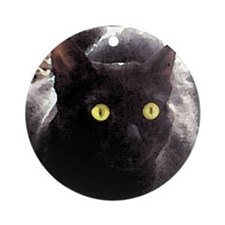 Black Cats Watercolor Ornament (Round)