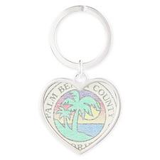 Vintage Palm Beach County Heart Keychain