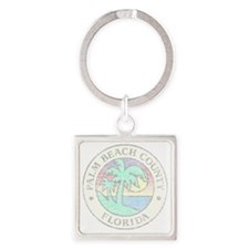 Vintage Palm Beach County Square Keychain