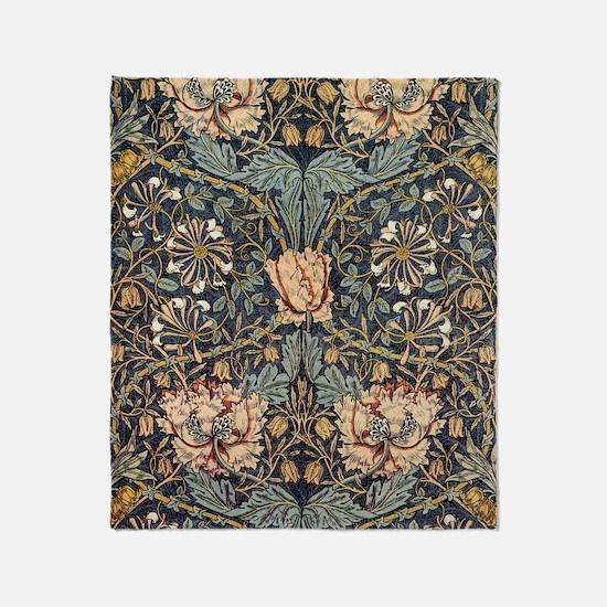 Art Nouveau Blue Vines Throw Blanket