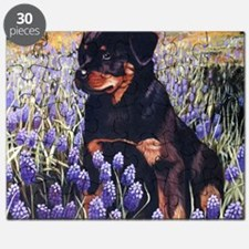 Rottweiler Pup in Flowers Puzzle