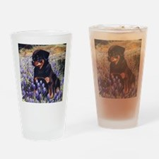 Rottweiler Pup in Flowers Drinking Glass