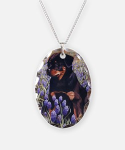Rottweiler Pup in Flowers Necklace