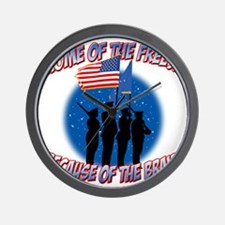 Home of the Free Because of the Brave Wall Clock