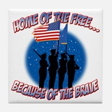 Home of the Free Because of the Brave Tile Coaster