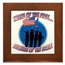 Home of the Free Because of the Brave Framed Tile
