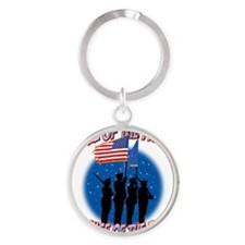Home of the Free Because of the Bra Round Keychain