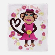 pretty monkey Throw Blanket