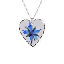 borage Necklace Heart Charm