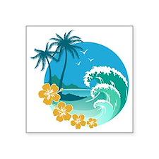 "Beach1 Square Sticker 3"" x 3"""