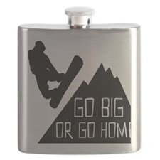 Snowboarder Go Big Flask