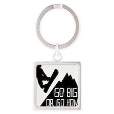 Snowboarder Go Big Square Keychain