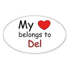My heart belongs to del Oval Decal