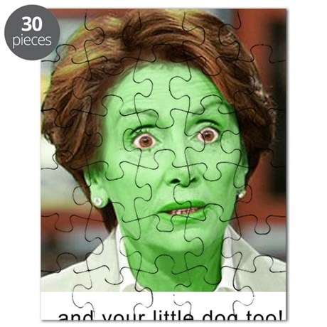 Pelosi GREEN and your little dog too 10x10_ Puzzle