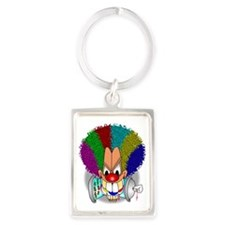 Rainbow Afro Clown Sprays All Da Portrait Keychain