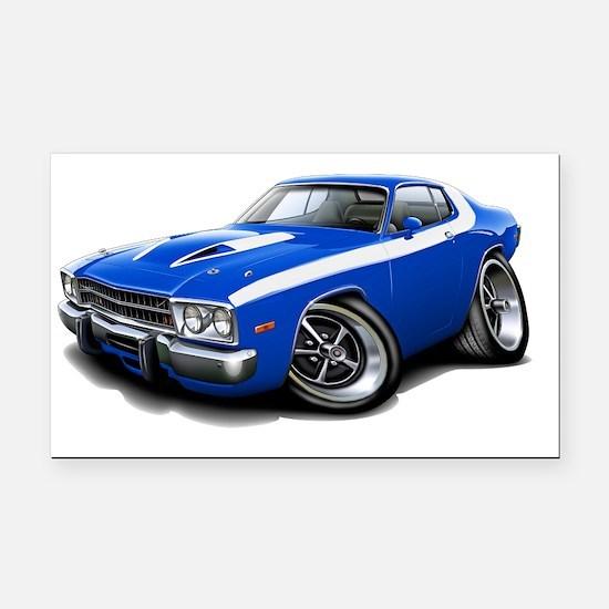 1973-74 Roadrunner Blue-White Rectangle Car Magnet