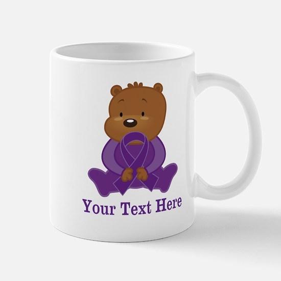 Personalized Purple Awareness Ribbon Bear Mugs