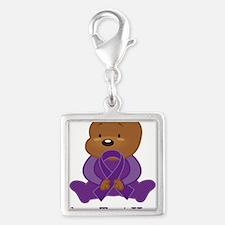 Personalized Purple Awareness Ribbon Bear Charms