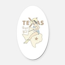 Faded Texas Pinup Oval Car Magnet
