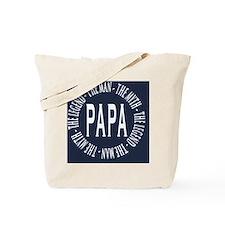 Papa round navy white copy Tote Bag
