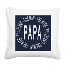 Papa round navy white copy Square Canvas Pillow