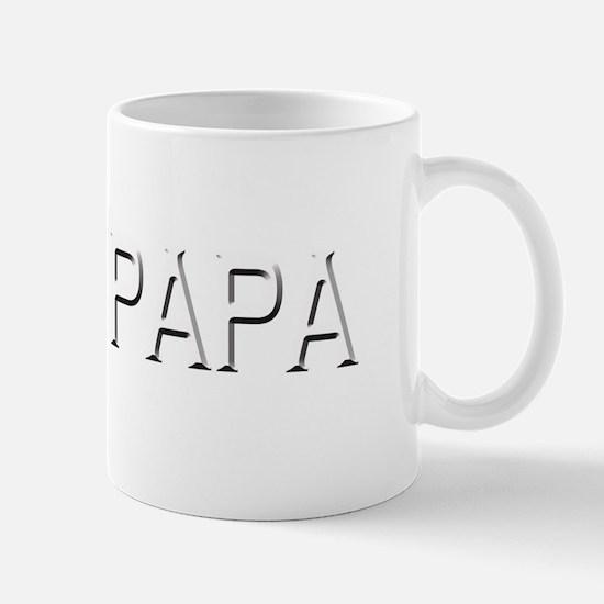 papa dark shirt white letters copy Mug