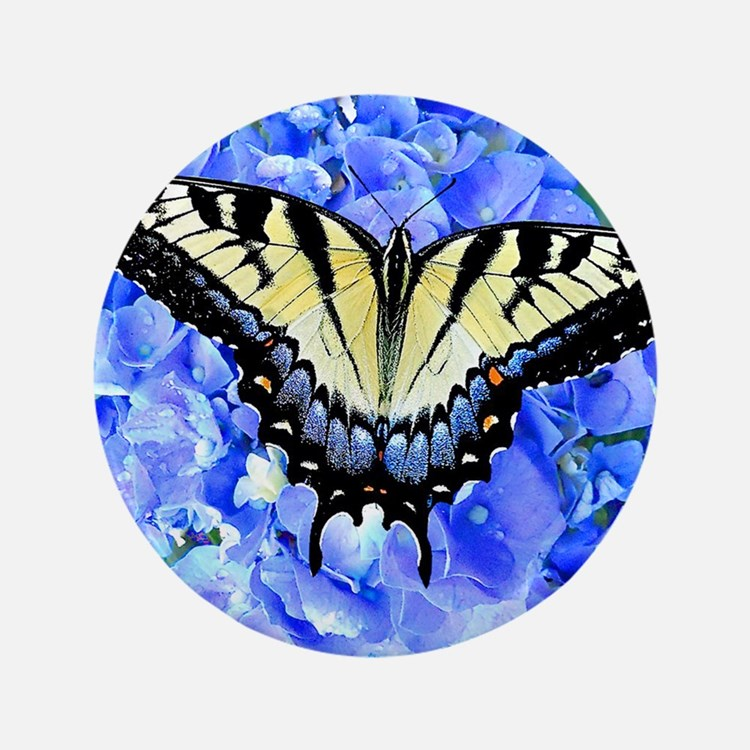 "Eastern Yellow Tiger Swallowtail Butte 3.5"" Button"