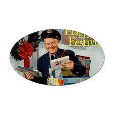 postman_festivus_card Oval Car Magnet