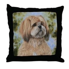 Lhasa Apso by Dawn Secord Throw Pillow