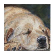 Sleeping Golden Retriever Tile Coaster
