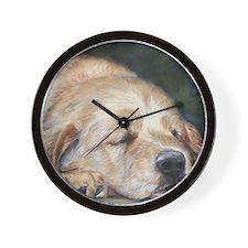 Sleeping Golden Retriever Wall Clock