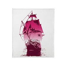 SailingShip1Pink Throw Blanket