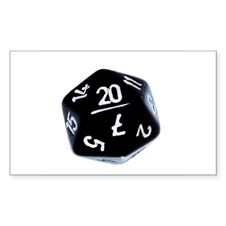 black D20 Rectangle Sticker