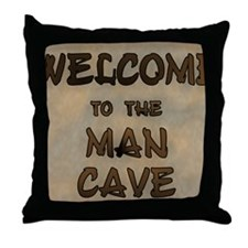 Welcome To The Man Cave Throw Pillow