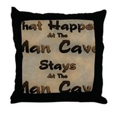 What Happens At The Man Cave Throw Pillow