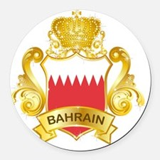 Gold1Bahrain1 Round Car Magnet