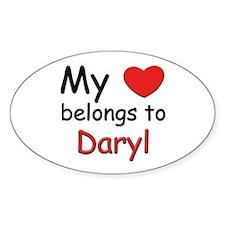My heart belongs to daryl Oval Decal