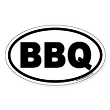 Bar-B-Que BBQ Euro Oval Stickers