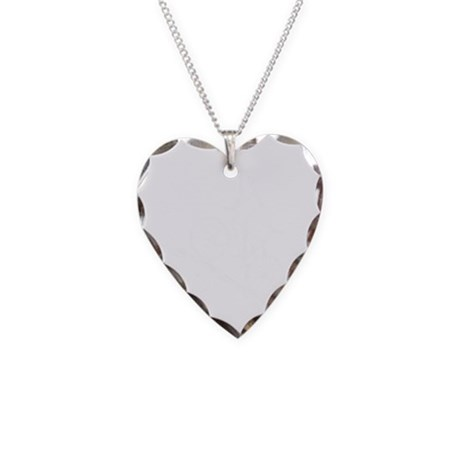 2-Mountain biker white Necklace Heart Charm