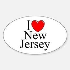 """I Love New Jersey"" Oval Decal"
