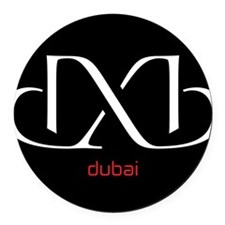 DXB Black Round Car Magnet