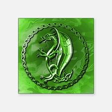 """GreenCelticDragonMousepad Square Sticker 3"""" x 3"""""""