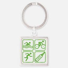 swimbikerunBeer Square Keychain