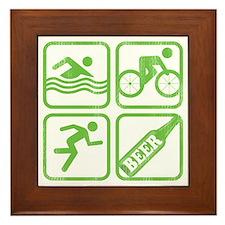 swimbikerunBeer Framed Tile