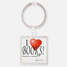 I love books Square Keychain