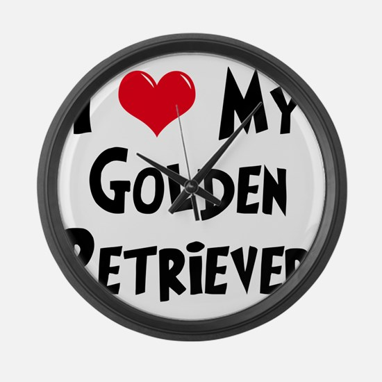 I-Love-My-Golden-Retriever Large Wall Clock