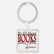 All About Books Square Keychain