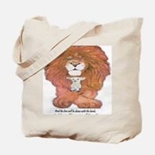 5-lion and lamb square Tote Bag