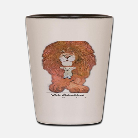 5-lion and lamb square Shot Glass