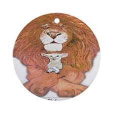 5-lion and lamb square Round Ornament
